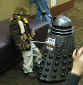 Dalek and boy Doctor