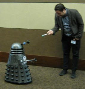 man Dalek and sonic screwdriver