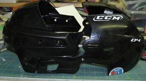 A hockey helmet taken apart