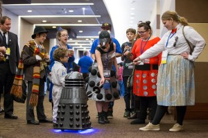 Dalek touches plunger