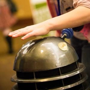 Dalek with time traveller