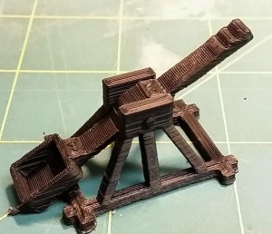 A one piece 3d print of a catapult
