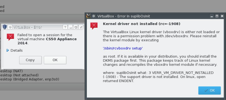 error message from VirtualBox